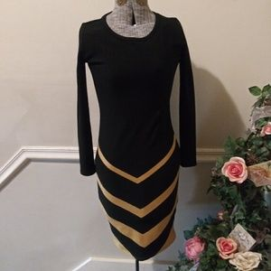 EUC Lularoe Blk & Gold Metallic Body Con Dress